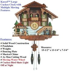 Kassel™ Large Cuckoo Clock with Multiple Moving Features Bird Shuts Light Off http://r.ebay.com/SHO5J3