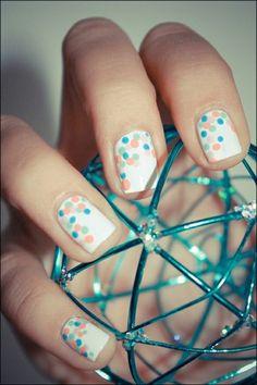 16 Cute and Easy Polka Dot Nail Designs nail art Get Nails, Fancy Nails, Love Nails, Pretty Nails, Hair And Nails, Dot Nail Art, Polka Dot Nails, Polka Dots, Blue Dots