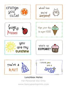 Lunch Box Notes Roundup - Hundreds of free (and cute) lunch box notes.  Free printables.