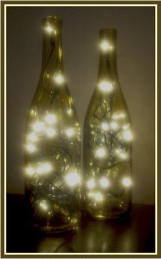4 Lighted Wine Bottle Wine Bottle Lamp Bar Light by DazzleMePink