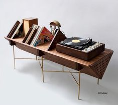 Audio rooms turntable We Adore This Turntable Stand by Detroit-Based Design House Sitskie - Bryantlongworth - Diy Furniture Cheap, Diy Furniture Renovation, Diy Furniture Hacks, Retro Furniture, Furniture Design, Barbie Furniture, Furniture Legs, Garden Furniture, Office Furniture