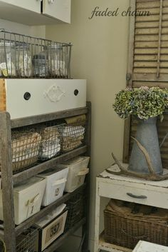 Faded Charm - love all the wire baskets! Like the idea of the drawer