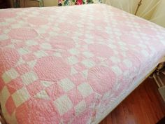 Feedsack Quilt Vintage 1930's Pink White Hand Stitched Shabby Chic Primitive