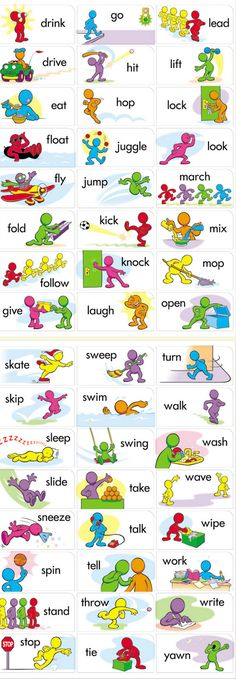 Printable verbs for flashcards / fluency in English vocabulary. Can be used for gamification to consolidate knowledge. English Time, English Verbs, Kids English, Learn English Words, English Study, English Class, English Lessons, English Vocabulary, English Grammar