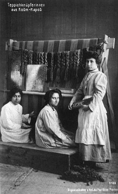 LIFE BEFORE THE GENOCIDE  Armenian women weave carpet. 1910th year, Istanbul.