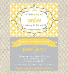 Sunshine Baby Shower Invitation Printable By GigglesandGraceDesig, $9.00