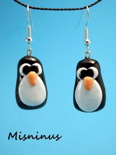 Pendientes Fimo Pinguino