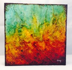 "This mixed media piece is 12"" x 12"" x 2"" on cradled wooden board and includes collaged tissue paper which created a rich texture...and alcohol inks.  Finished with UV resistant clear gloss.  The sides are painted and back is wired for hanging.  It's ready to ship and hang in your collection o..."