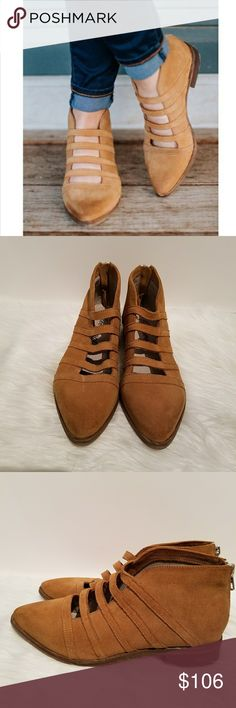 """Free People Swept Away Suede Chelsea Booties This is a pair of Free People Swept Away tan suede Chelsea booties.  Features - suede leather uppers  - back entry zippers  - strappy cutouts on top  - approximately 1"""" heel, 3 1/2"""" shaft ...EUC with minimal wear after being worn twice.    aa Free People Shoes Ankle Boots & Booties"""