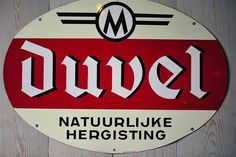 Duvel beer, brewed by Duvel-Moortgat. Vintage sign.