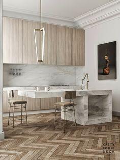 reforma cocina en piso muebles de madera con frente encimera