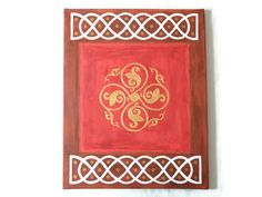"""celtic inspired painting, original wall art, celtic acrylic painting in red and brown, home decor """"keltische Rose"""" 40 x 50 x Original Paintings, Original Art, Celtic Symbols, Austria, My Etsy Shop, Colours, This Or That Questions, Inspired, Wall Art"""