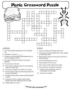 Picnic Crossword Puzzle - Free Printable Learning Activities for Kids - Printable Colouring Sheets