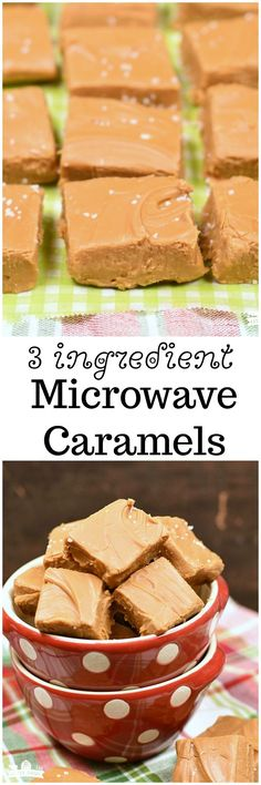 3 ingredient microwave caramels - the easiest, creamy homemade caramels out there! No candy thermometer needed for this one! Only about 5 minutes!