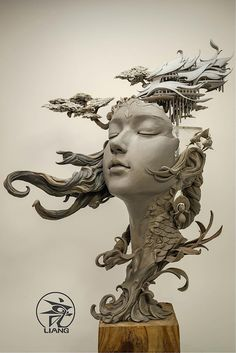 Chinese artist Yuanxing Liang is redefining the traditional bust sculpture with his breathtaking fantasy art. The prototyping teacher crafts intricate portraits featuring faces of women that are fused with delicate flourishes and elements of landscapes. Portrait Sculpture, Sculpture Clay, Art Sculptures, Surrealism Sculpture, Sculpture Painting, Sculpture Ideas, Ceramic Sculptures, Abstract Sculpture, Ceramic Sculpture Figurative