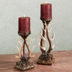 Deer antler candleholder | décor :) country girl in me likes this