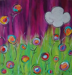 Pretty Pink Haze  Original Canvas Painting by callyscreationsuk, £100.00