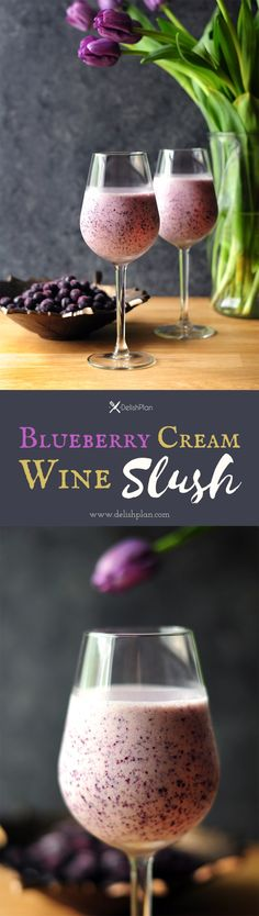 Blueberry, ice cream, and white wine, this blueberry cream wine slush has got all your favorite things together. Cocktail And Mocktail, Wine Cocktails, Cocktail Recipes, Wine Recipes, Alcoholic Drinks, Cooking Recipes, Beverages, Sangria, Slush Recipes