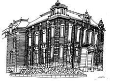 線画画「旧高岡共立銀行」[緑]   ART-Meter