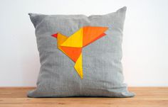 Yellow Bird Origami Patchwork Silk and Linen Pillow - 14 Inches