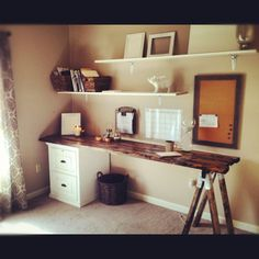 My DIY home office. Almost everything was thrifted, on sale, or built from scratch. Design on a dime. :)