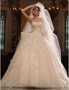 a line wedding dresses,A-line Sweetheart Cathedral Train Tulle Satin Wedding Dress With Veil, wedding dresses, wedding dresses sale Free shipping 9bb841c4