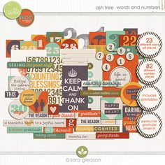 Ash Tree {words and numbers} by Sara Gleason  These elements match other kits in the store's BYOC section currently.