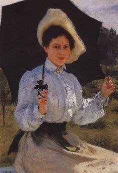 Portrait of Nadezhda Repina, the Artist's Daughter, 1900 by Ilya Repin. Realism. portrait. Tretyakov Gallery, Moscow, Russia