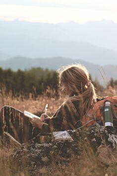 Draußen in der Natur schreibt es sich doch am besten.