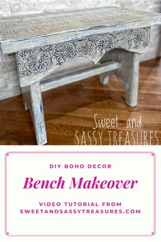 If you want to give your home decor some bohemian flair, check out this step-by-step tutorial showing you how to makeover a simple wooden bench. Using DIY Paint and the IOD Bohemia transfer, you won't believe how easy it is tp get this look! Farmhouse Style Furniture, Country Furniture, Shabby Chic Furniture, Painted Furniture, Diy Furniture Easy, Diy Furniture Projects, Furniture Makeover, Boho Diy, Boho Decor