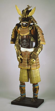 Japanese Edo period Armor (Gusoku), c. 16th - 18th centuries    Lacquered iron, mail, silk, copper-gilt