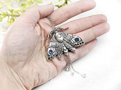 Moon Moth Necklace Witchy Jewelry / Wiccan Jewelry Pagan image 6 Crystal Rhinestone, Swarovski Crystals, Moon Moth, Wiccan Jewelry, Witch Aesthetic, In This World, Dangles, Pendant, Etsy