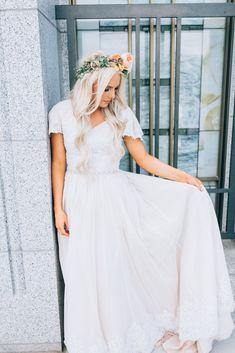 Lace detail blush wedding dress