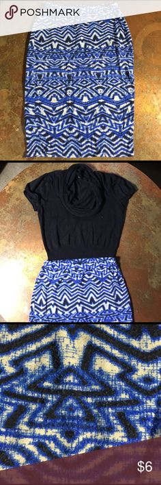 Funky Blue Tribal Stretch Skirt COMFY 🚨 ALERT! This spandex and rayon skirt give you stretch like no other. About to pig out on carbs at girls night? This skirt will help hide the burrito belly and donut desserts. Form fitting and enhances your natural curves. You can dress this up with gold accessories and heels. Skirts Pencil