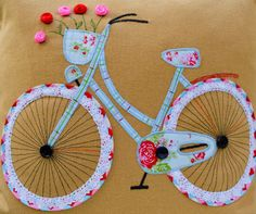 Quality Stunning Handmade Applique`♥Bicycle♥ Cushion cover ************************* Features x Size 16x 16(41cm x 41cm) Fit cushion sizes 14 or 16 x