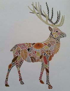 Stag from Millie Marotta's Animal Kingdom, using Faber-Castell pencils & metallic pencils, and brown fineliner for the little dots.