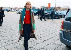 Laura Hagested in a Saks Potts coat - Milan Fashion Week Photo by Phil Oh
