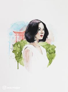 Asian vibes - watercolor inspired by Asian ink wash paintings
