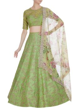 Stunning pista green color lehenga and blouse with floral print net dupatta. Lehenga and blouse with floret lata design hand embroidery work. Anushree Reddy X aza fashions .Bridal Brigade now available online. Latest Bridal Lehenga, Designer Bridal Lehenga, Bridal Lehenga Choli, Lehenga Blouse, Indian Bridal Outfits, Indian Designer Outfits, Indian Dresses, Designer Dresses, Green Lehenga