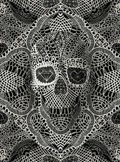 Lace Skulls!! make out of doilies - cut out of lace onto shirt