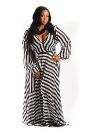 New Arrival New Plus Size Long Halter Jumpsuit in Chevron Black ...
