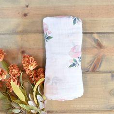 Watercolor Rose Muslin Swaddle Blanket