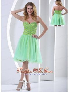 Beaded Decorate Bust Yellow Green Sweetheart Knee-length Cocktail Dress With Organza In 2013  http://www.fashionos.com  If you're looking forward to making a lasting impression on everyone at your upcoming formal event, this stunning prom dress in double colors can make sure that you will do. It is characterized by a charming sweetheart neckline on the beaded bodice with waving line,teeming with elegance and sexy appeal.