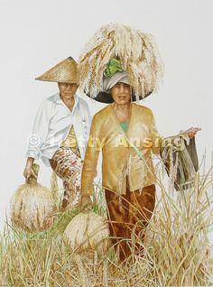 Fijnschilderkunst in aquarel van de hand van Hetty Ansing 'bringing in a rich harvest'