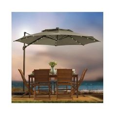 Outdoor Patio Cantilever Umbrella 11 Foot Round Canopy With Solor Powered Lights Includes Base Stand And Storage Cover (Mocha) * Sincerely hope you actually like the photo. (This is an affiliate link) Best Patio Umbrella, Cantilever Patio Umbrella, Cheap Patio Umbrellas, Pool Umbrellas, Offset Patio Umbrella, Outdoor Umbrella, Patio Furniture Covers, Outdoor Furniture, Outdoor Seating Areas