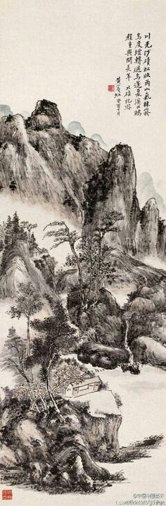 【 黄宾虹《北碚纪游》 】  这幅《北碚纪游》为黄宾虹壮游巴蜀,摄山水之魂的一幅精心之作,笔墨精致,设色清雅。