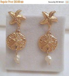 Sand Dollar & Starfish Gold Earrings 14K Yellow Gold by Zeppola