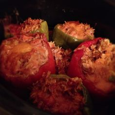 CROCKPOT Stuffed Bell Peppers (Make the night before)