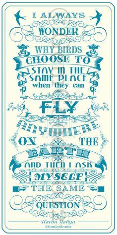 The flight of the bird.