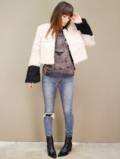 faux fur coat in color block cream and black with zip-off bottom by Aryn K | shopcuffs.com, $108